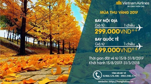 Vietnam Airlines khuyến mãi mùa thu vàng